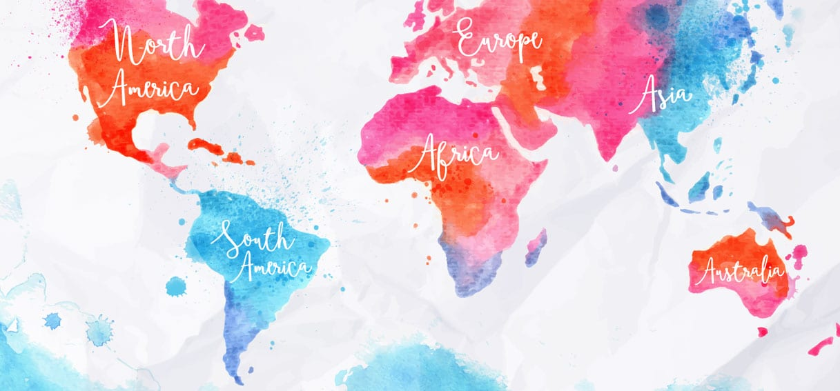 Water colour map of the world